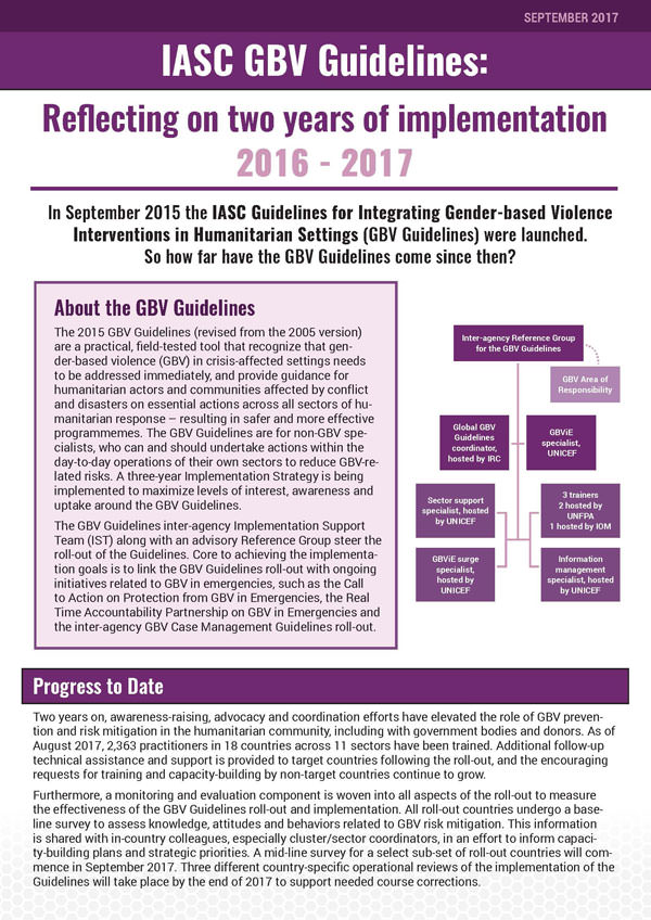 IASC GBV Guidelines: Reflecting on two years of implementation 2016 - 2017